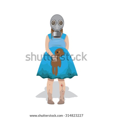 little girl in a gas mask