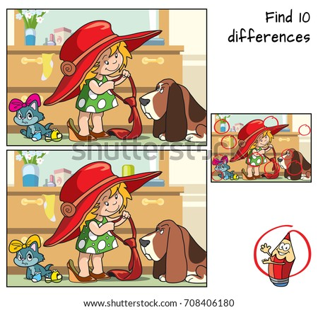 Little girl in her mother's clothes plays with her pets. Find 10 differences. Educational game for children. Cartoon vector illustration