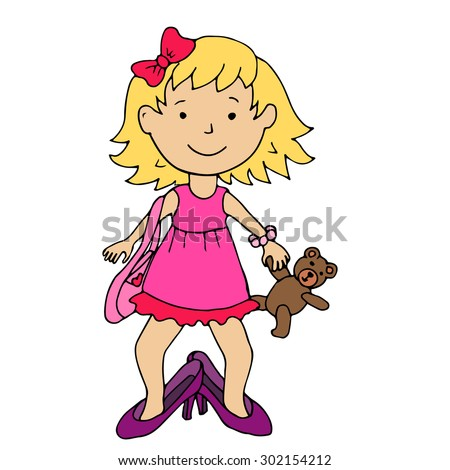Little girl in mother's high heel shoes holding bear toy