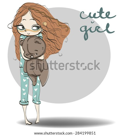 little girl in pajamas with