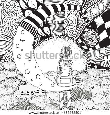 Little Girl is sitting on the Moon. Black and white. Coloring Book page for adult and children. Doodle, zentangle style. Sun, clouds,The Moon in a striped hat.