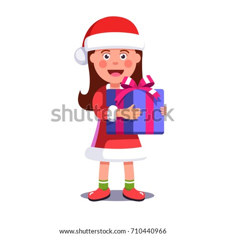 Little girl kid dressed like Santa Claus holding big wrapped gift box decorated with ribbon bow. Merry Christmas greeting card template. Flat style vector illustration isolated on white background.
