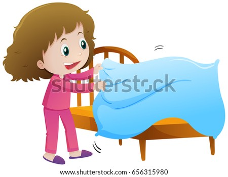 Little girl making bed illustration