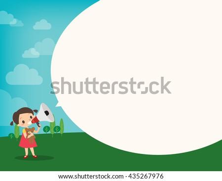 little girl on megaphone make an announcement with bubble speech cartoon vector illustration ストックフォト ©
