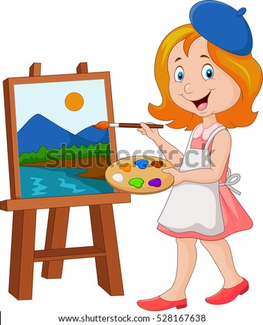 little girl painting on a canvas