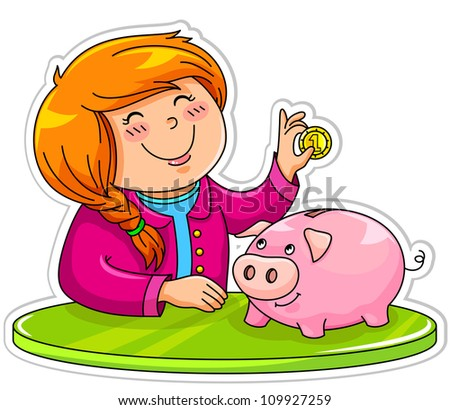 little girl putting a coin in her piggy bank (JPEG version available in my gallery)
