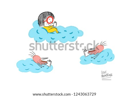 Little girl reading in the clouds accompanied by birds, vector illustration