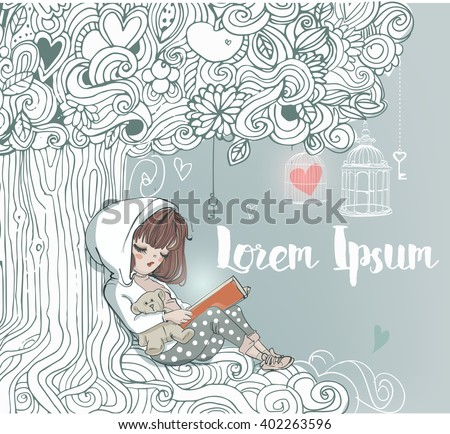 little girl reading under the