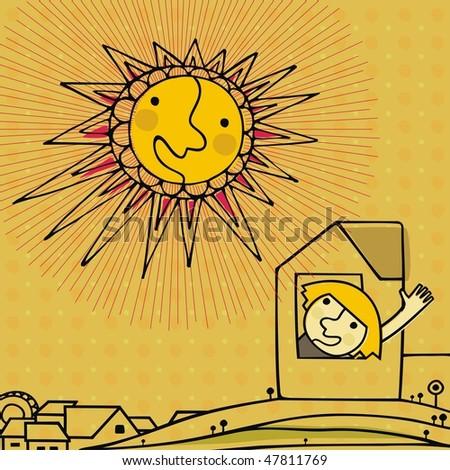 little girl say hello to the sun