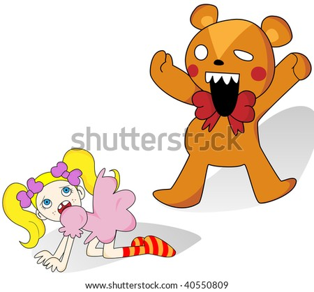 Little girl scared of giant teddy bear. Vector Image.