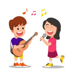 little girl sings a song accompanied by a guitar player