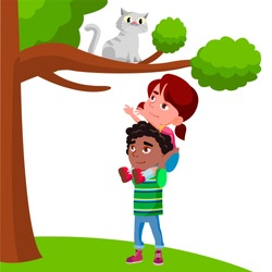 Little Girl Sits On The Boy Shoulders And Pulls Her Hands To Cat Sitting On Tree Vector Flat Cartoon Illustration