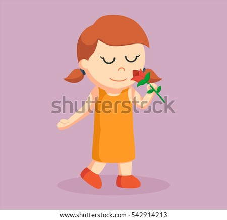 little girl smelling rose flower