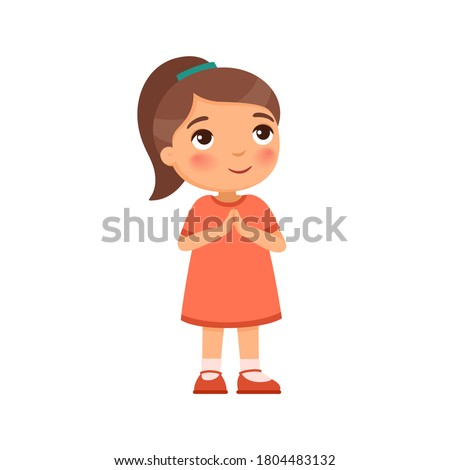 Little girl smiles and lifts up his eyes and hands in prayer. Concept of religion, prayer and Christianity. Cute cartoon character
