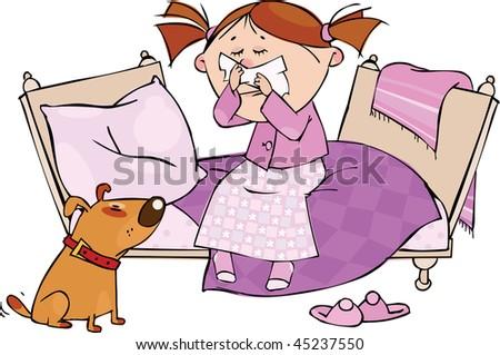 cairns de mai 2013 - Page 31 Stock-vector-little-girl-sneezing-in-the-handkerchief-45237550