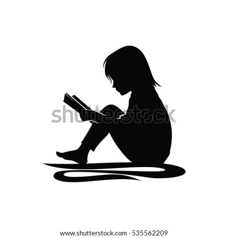 little girl study reading book