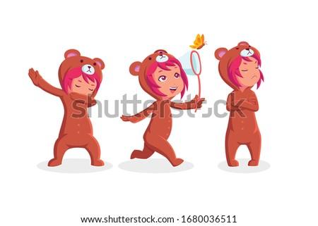 little girl wearing bear