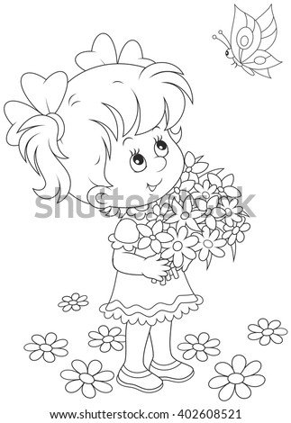 little girl with a bouquet of flowers looking at a flying butterfly Stock photo ©