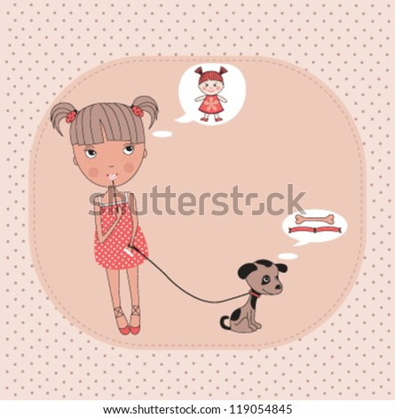 Little girl with a dog and their dreams. Vector