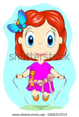 little girl with a skipping