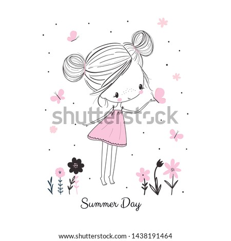 Little girl with butterflies and flowers in pink dress. Childish doodle drawing vector illustration in pink colour. Use for girlish surface designs, fabric print, card, fashion kids wear, baby shower,