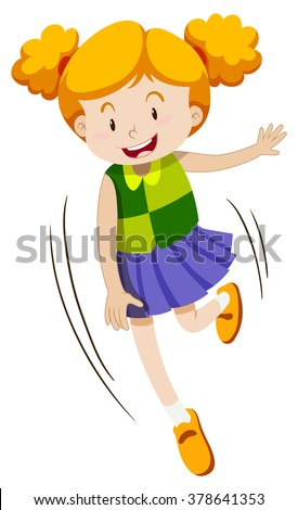 Little girl with happy face illustration