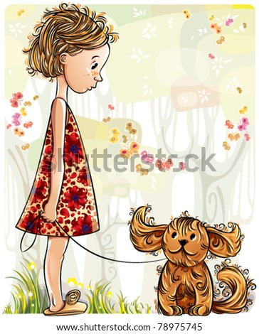 Little girl with puppy in the park. Vector illustration.