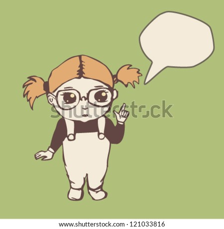 Little girl with speech bubble. Vector illustration - stock vector