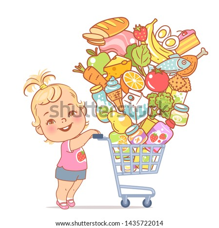 Little girl with supermarket cart full of food. Kid shopping in mall. Different food objects for children. Baby girl walk with shopping carriage and food isolated. Color vector illustration.