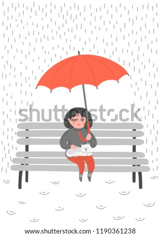 Stock Photo Little girl with white cat red umbrella in the rain. Baby girl sitting on the bench with in the rain. Original vector illustration.