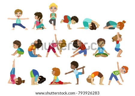 Little Girls Doing Yoga Set