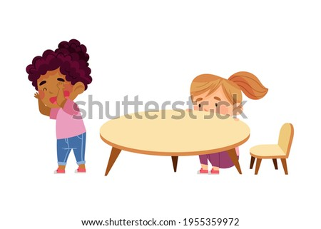 Little Girls Playing Hide and Seek Game in Kindergarden Vector Illustration Stock photo ©
