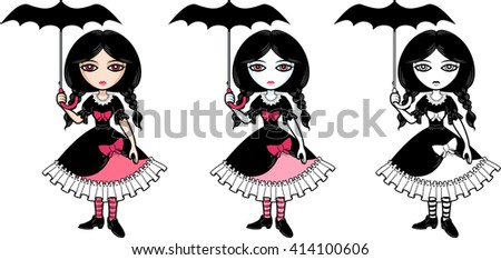 little goth emo girl with