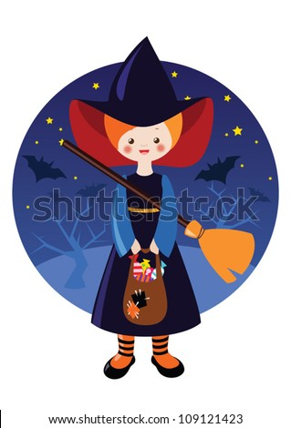 Little halloween witch with sweets against the background of night sky with stars and bats.