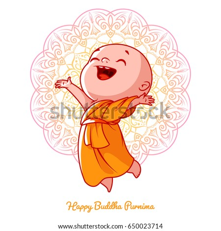 Little happy monk in the orange robe. Cartoon character. Vector cartoon illustration on a white background with a mandala.