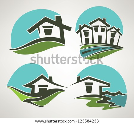 little home in small town, vector collection of emblems