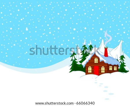 little house in snowy hills
