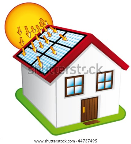 Little house with solar panels. Vector illustration.