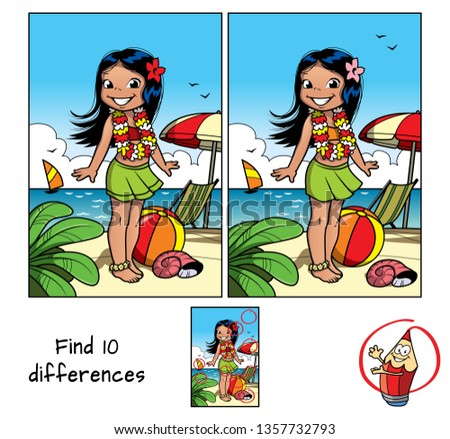 Little hula girl at the beach wearing a Hawaiian garland. Find 10 differences. Educational matching game for children. Cartoon vector illustration