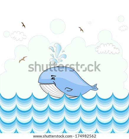 Little illustrated whale  card design