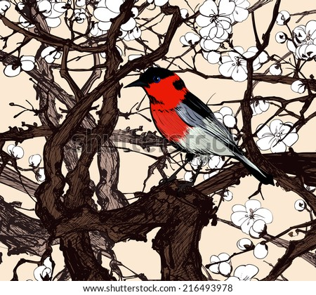 Stock Photo Little imaginary red bird in a sakura - vector illustration
