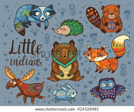 Little Indians Woodland Tribal Animals Vector Set