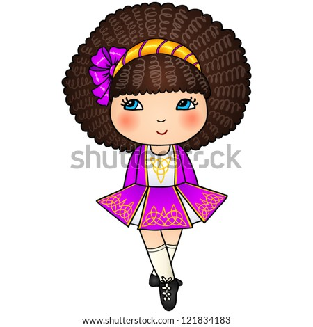 Little Irish dancing girl in violet traditional dress and soft shoes