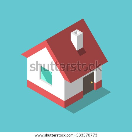 little isometric house with