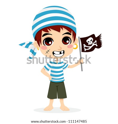 Little kid in pirate sailor costume smiling holding skull and crossbones flag - stock vector