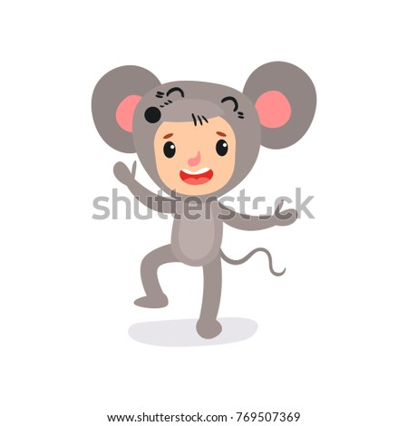 29aa19ba76c8 Vector illustration. Little kid with happy face expression in mouse  costume. Animal jumpsuit. Cartoon child character