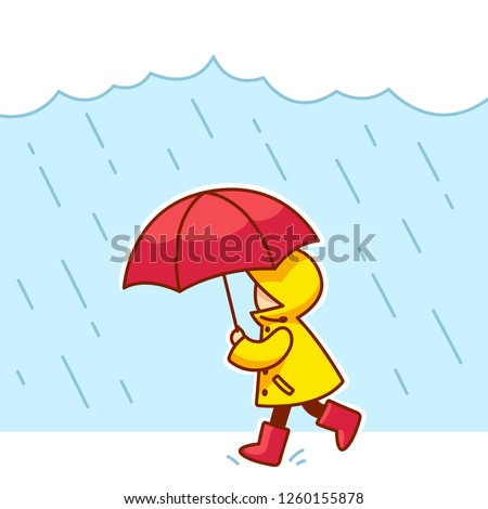 little kid with raincoat  rain