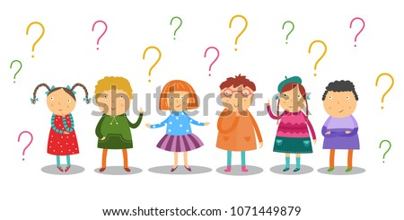 Little kids look thoughtfully and stand under lot of question marks set isolated on white background. Flat cartoon curiously school age children having questions and ideas. Vector illustration.