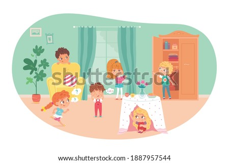 Little kids playing hide and seek in living room. Playing game with friends at home vector illustration. Boy counting, girls and boys hiding under table, in wardrobe, behind armchair and curtain. Stock photo ©