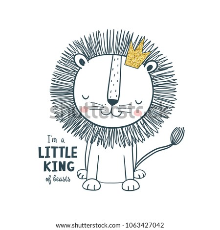 Little king. Vector illustration for kids. Use for t shirt template, surface design, fashion kids wear, baby shower